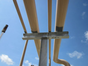 View of pipes on steel supports with pipe saddles set up between contact points improving pipeline corrosion protection.